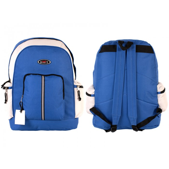 2602 BLUE WHITE BAKCPACK WITH TOP FRONT & SIDE ZIP