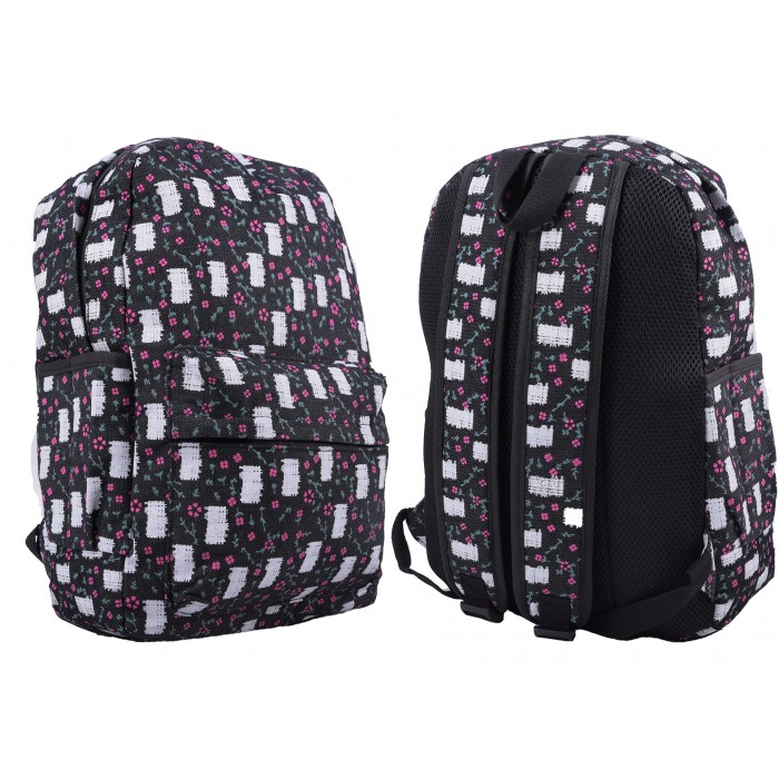 2612 BLACK/WHITE PATCH PATTERNED CANVAS BACKPACK