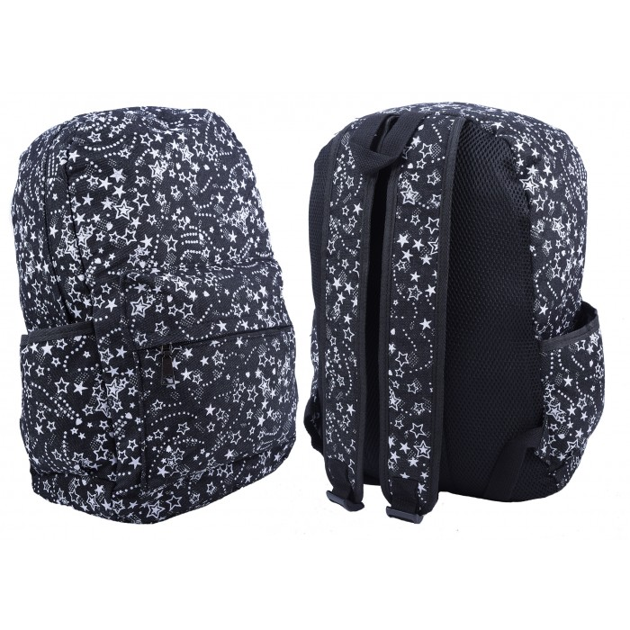 2612 BLACK/WHITE STAR PATTERNED CANVAS BACKPACK