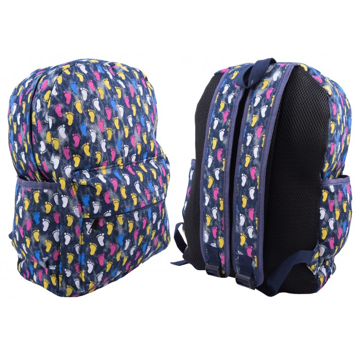2612 FOOTPRINT PATTERNED CANVAS BACKPACK