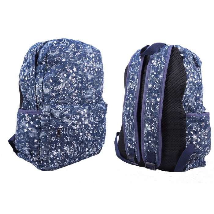 2612 BLUE STAR PATTERNED CANVAS BACKPACK