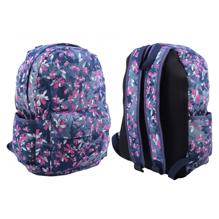 2612 NAVY PINK FLORAL PATTERNED CANVAS BACKPACK