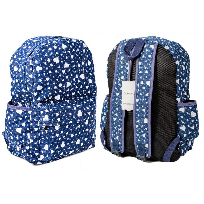 2612 NAVY WHITE HEART PATTERNED CANVAS BACKPACK