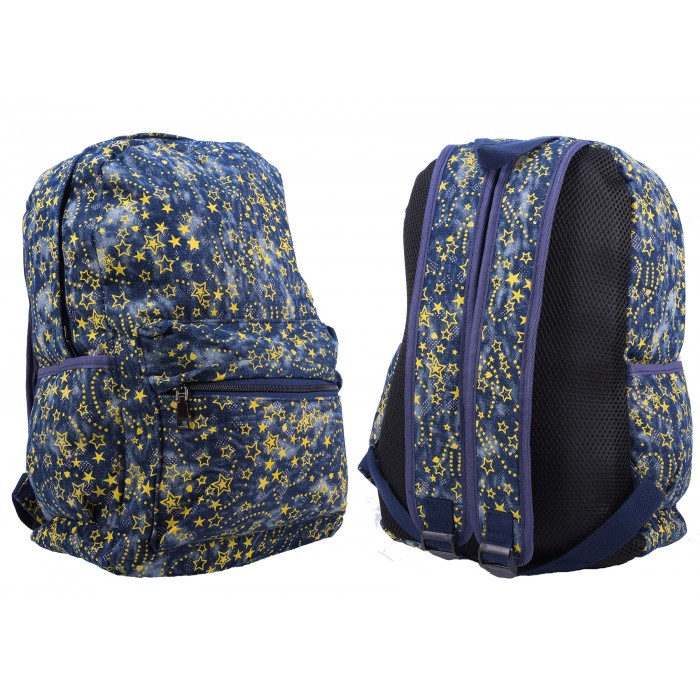 2612 NAVY/YELLOW STAR PATTERNED CANVAS BACKPACK