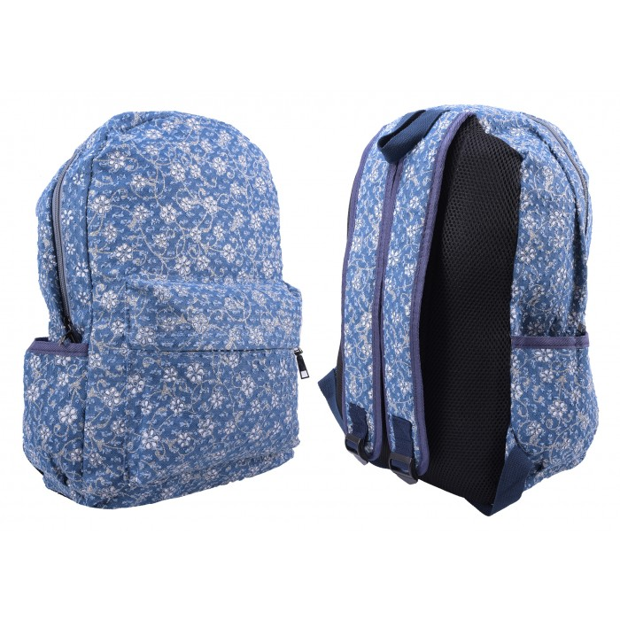 2612 SKY BLUE FLORAL PATTERNED CANVAS BACKPACK