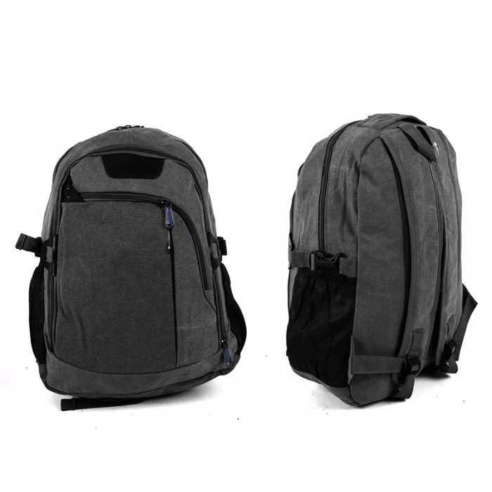 2618 BLACK Canvas Backpack wit 4 zips & 2 side pockets