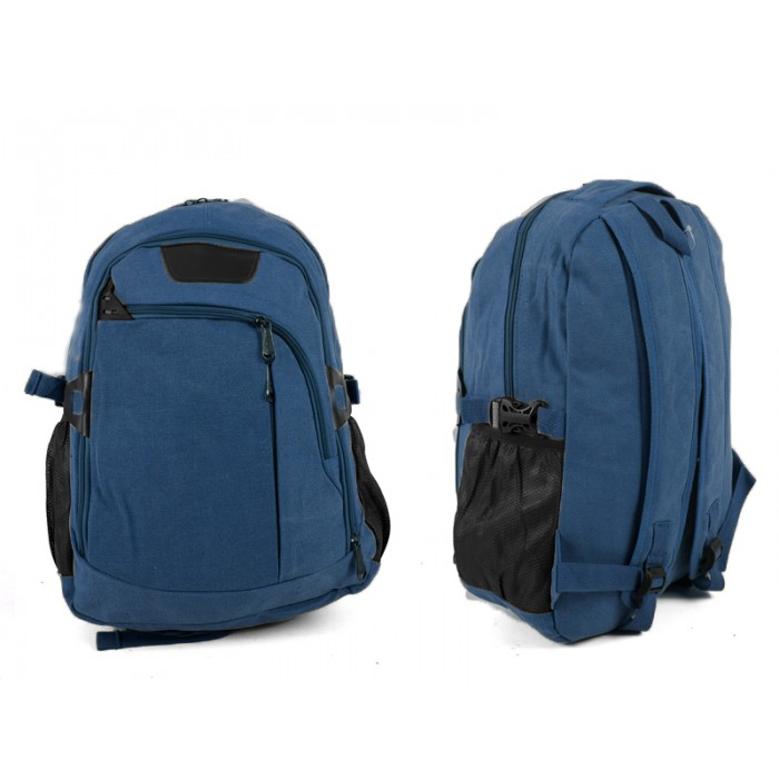 2618 BLUE Canvas Backpack wit 4 zips & 2 side pockets