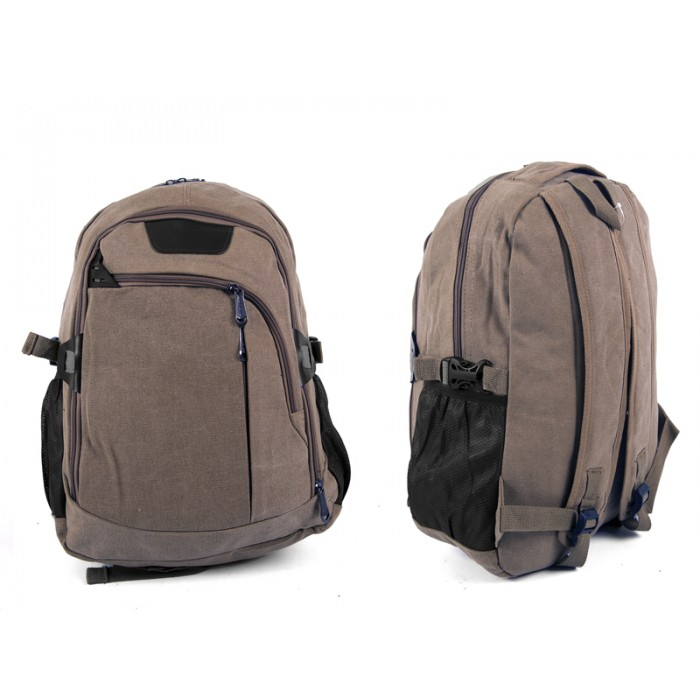 2618 BROWN Canvas Backpack wit 4 zips & 2 side pockets