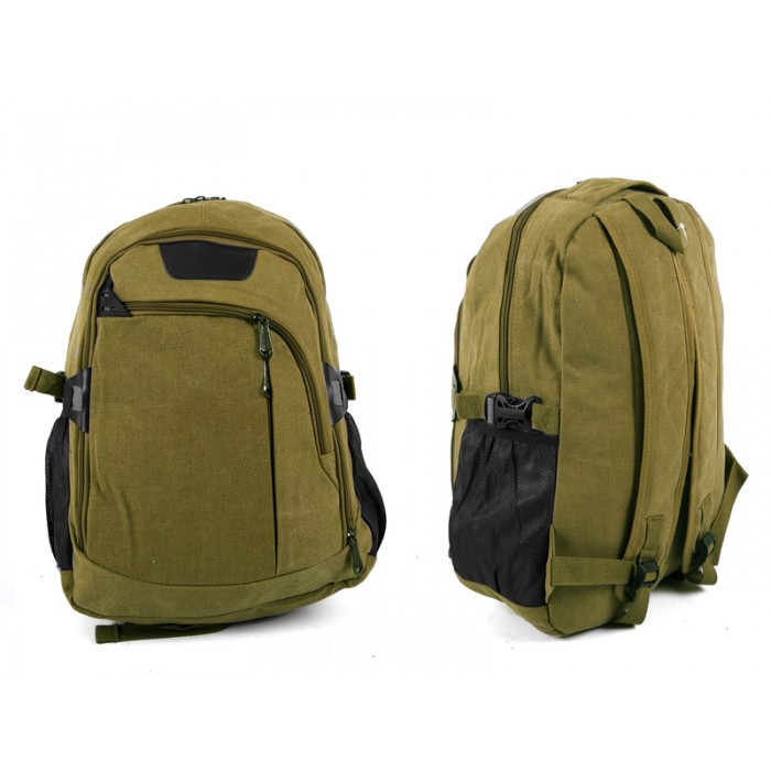 2618 GREEN Canvas Backpack wit 4 zips & 2 side pockets