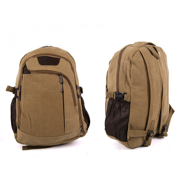 2618 KHAKI Canvas Backpack wit 4 zips & 2 side pockets