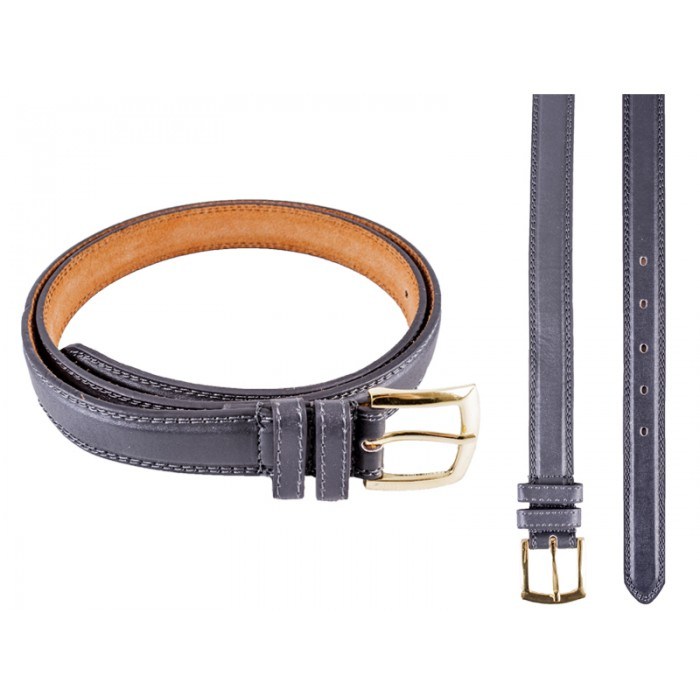 2703 Grey Leather Smooth Finish Belt With a Gold Buckle - Size M