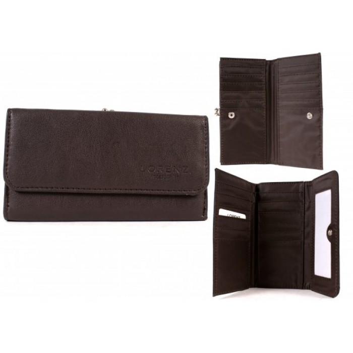 5907 WINTER BROWN LEATHER GRAIN PU DBLE SIDED PURSE WALLET