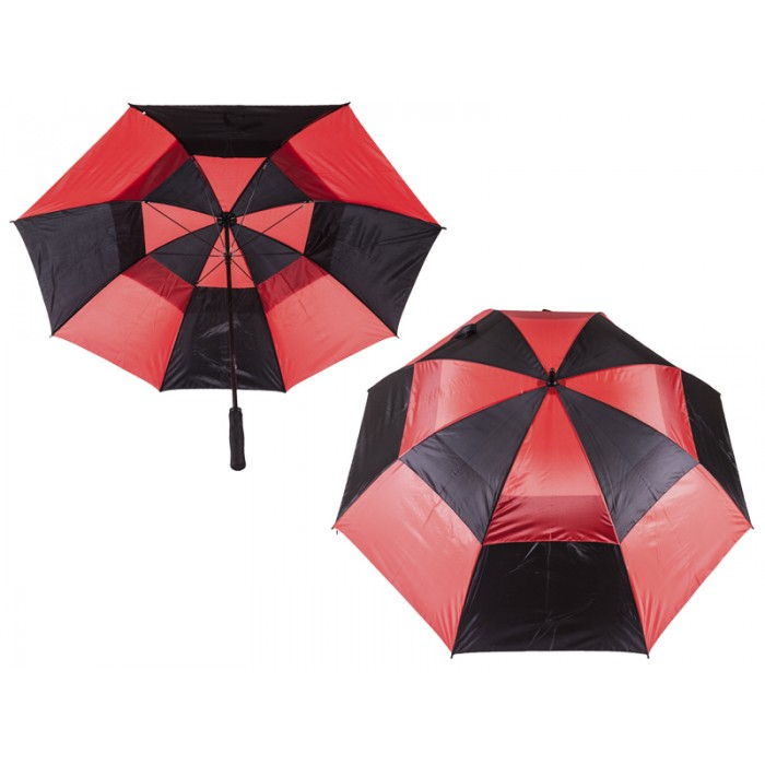 2817 CONTRAST GOLF UMBRELLA WITH WIND FLAPS BLACK/RED