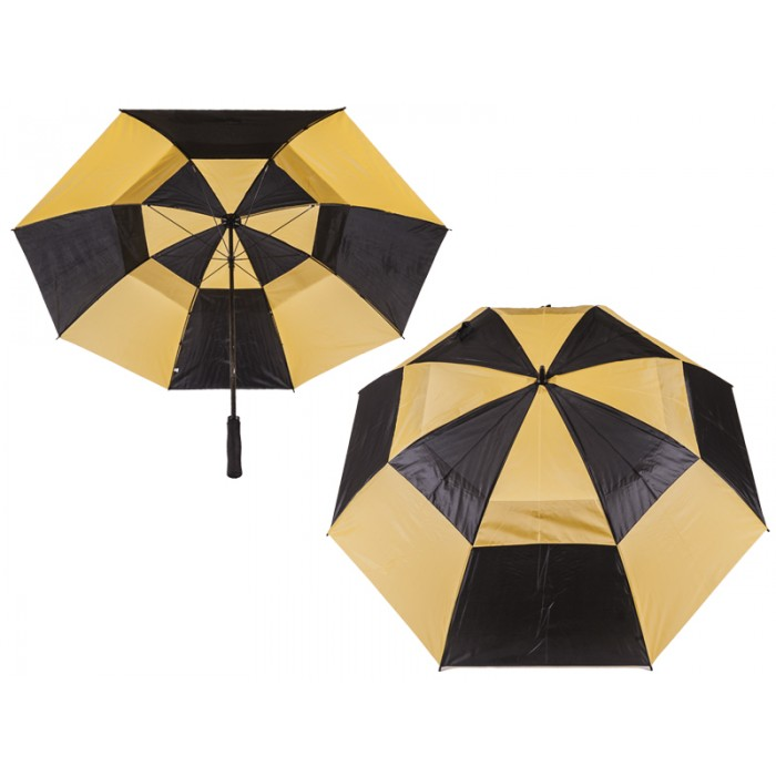 2817 CONTRAST GOLF UMBRELLA WITH WIND FLAPS BLACK/YELLOW