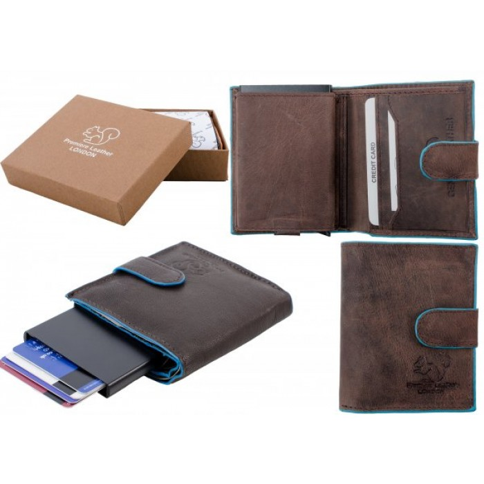 RL 9001 RFID C-SECURE CASE WALLET BROWN BLUE