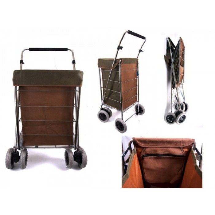 ST-NS-SIX-02 GREEN/BROWN PU SUDE SKIN SHOPPING TROLLEY