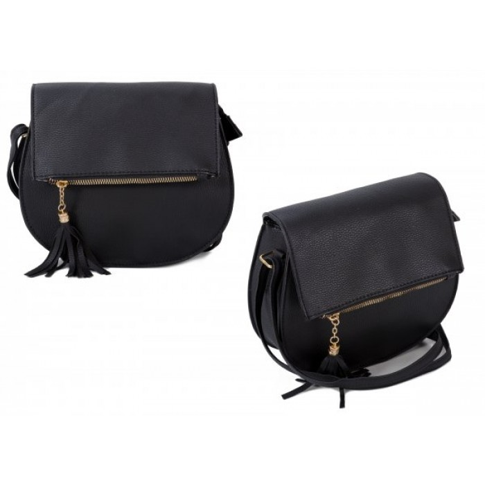 JBFB288 BLACK PU ROUND CROSSBAG W/ ZIP FLAP