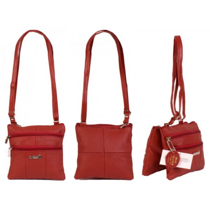 3766 DARK RED SMALL COW HIDE BAG WITH 4 ZIPS