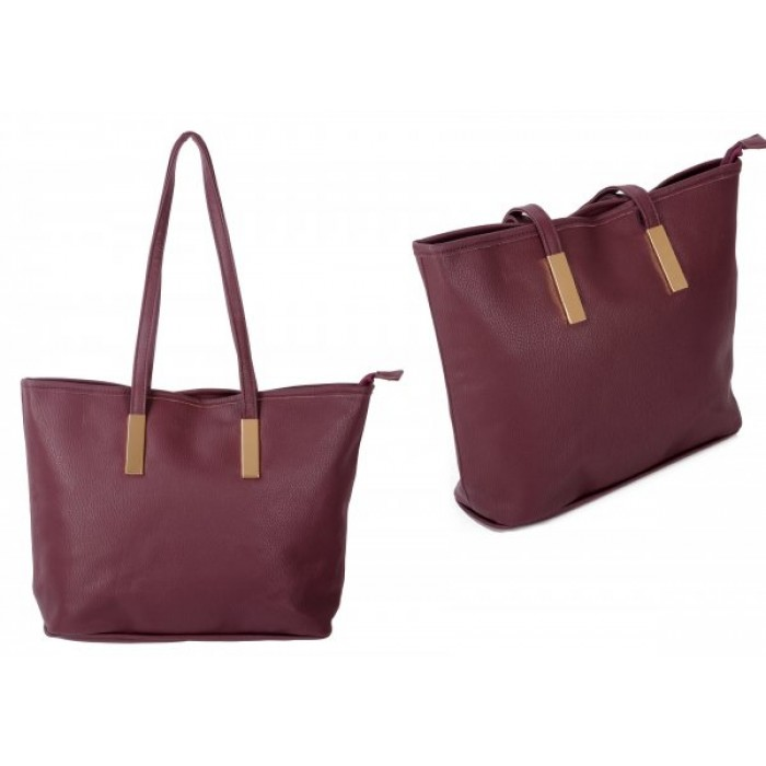 JBFB289 WINE PU HANDBAG W/1 COMPARTMENT