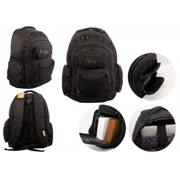JCBBP22 BLACK RUGGED BACKPACK WITH MULTIPLE COMPARTMENTS