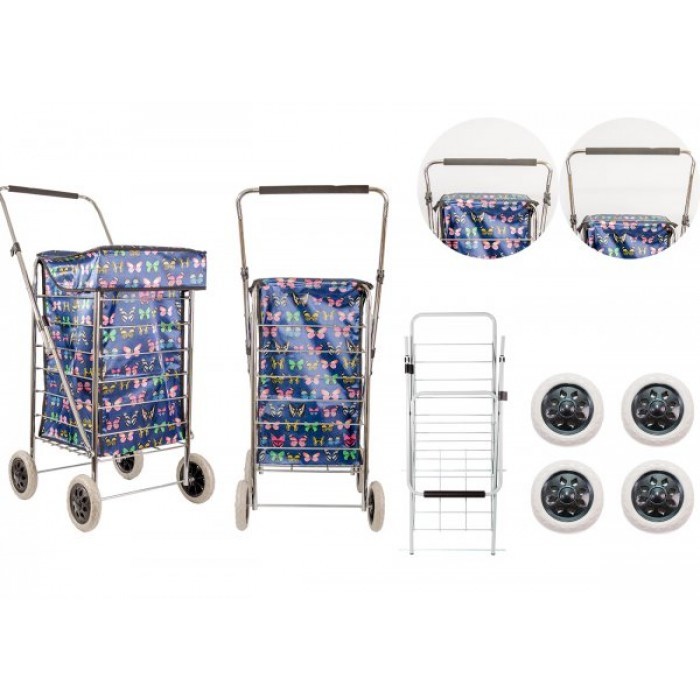 ST-FOUR-01 NAVY BUTTERFLY 4 WHEEL SHOPPING TROLLEY