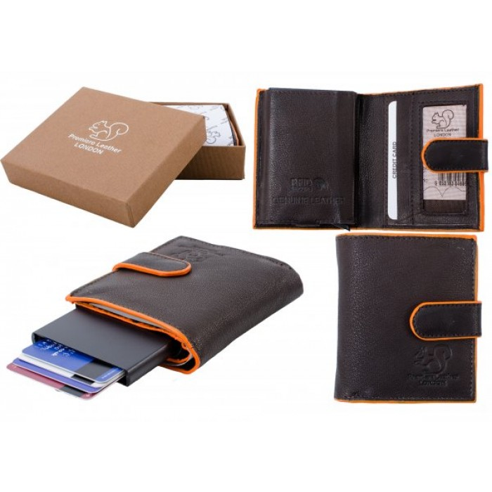 RL 9003A RFID C-SECURE CASE WALLET BROWN ORANGE