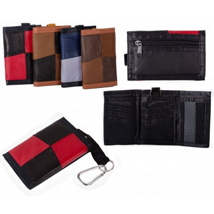 1895 RED MULTI S.NAPPA TRIFOLD WALLET WT ZIP AND BELT HOOK