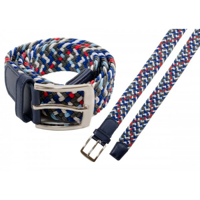 """2796 NAVY MULTI UNISEX STRETCHY WOVEN CASUAL BELT M/L (32""""-40"""")"""