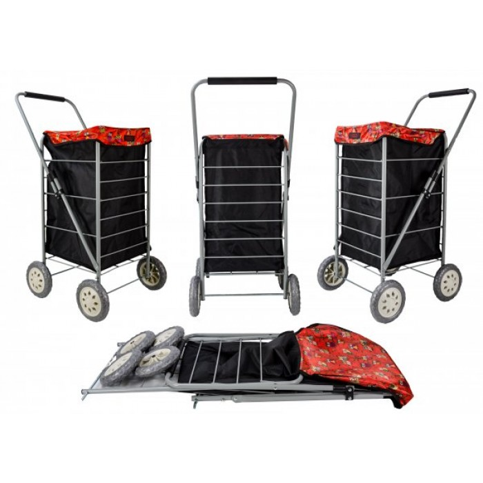 6963 BLACK AND RED OWLS 4 WHEEL CAGE SHOPPING TROLLEY