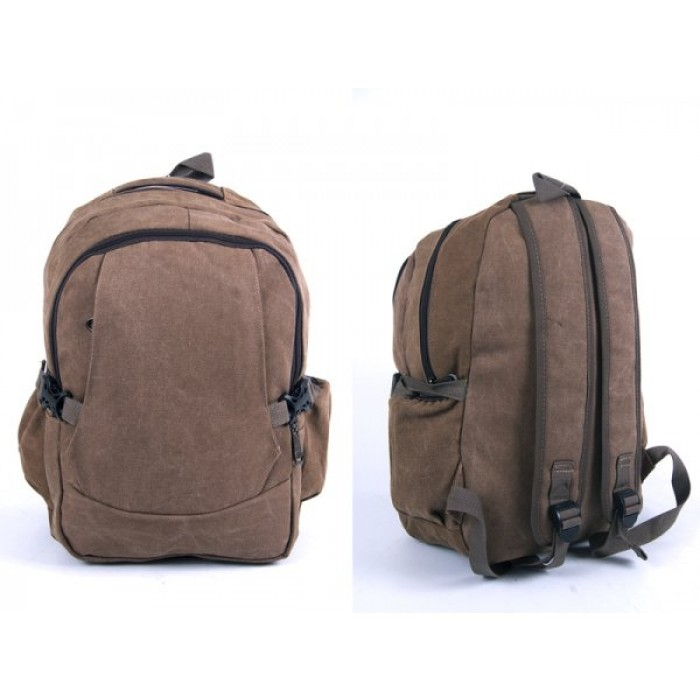 2617 BROWN CANVAS BACKPACK WIT 4 ZIPS & 2 SIDE POCKETS