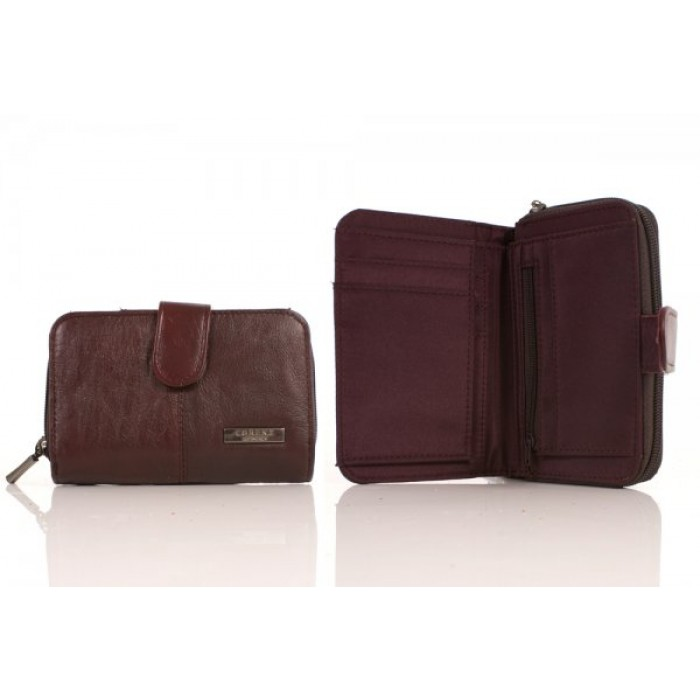 3706 RFID - COW HIDE ZIP ROUND PURSE WALLET BURGUNDY
