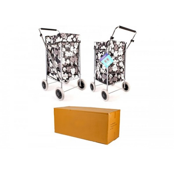 ST-FOUR-01 SOLID BLACK 4 WHEEL SHOPPING TROLLEY BOX OF 4