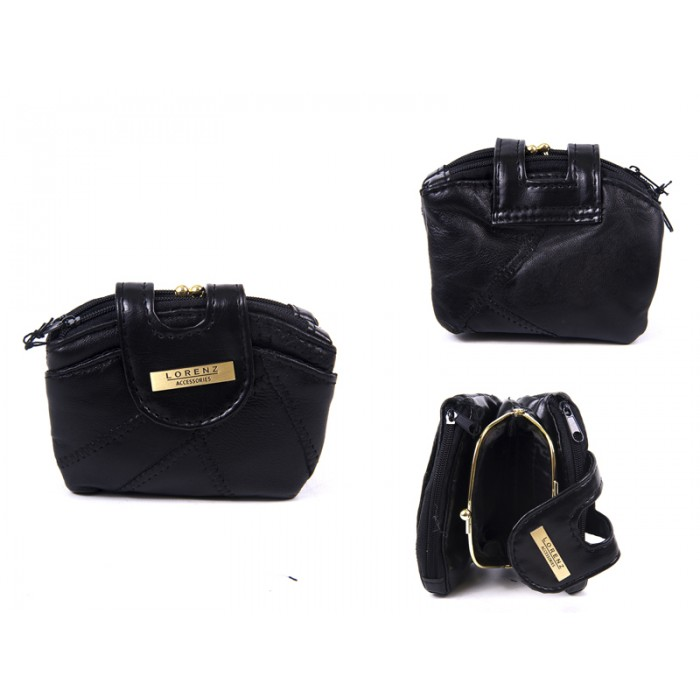 4613 BLACK DOUBLE ZIP PURSE WITH CENTRE FRAME TABOVER