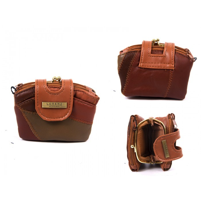 4613 BROWN DOUBLE ZIP PURSE WITH CENTRE FRAME TABOVER