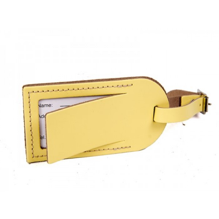 LEATHER LUGGAGE TAG SUN FLOWER YELLOW