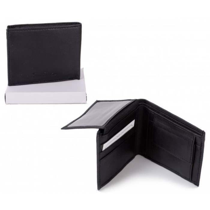 MWMF-2 BLACK LEATHER WALLET W/ CC FLAP