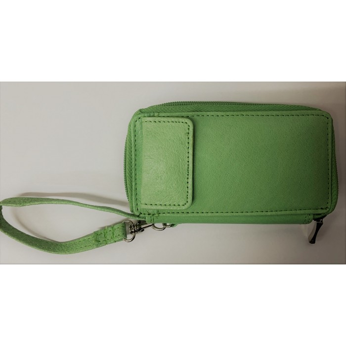 50767 Green Double Zip Purse with Poppered Front Pocket