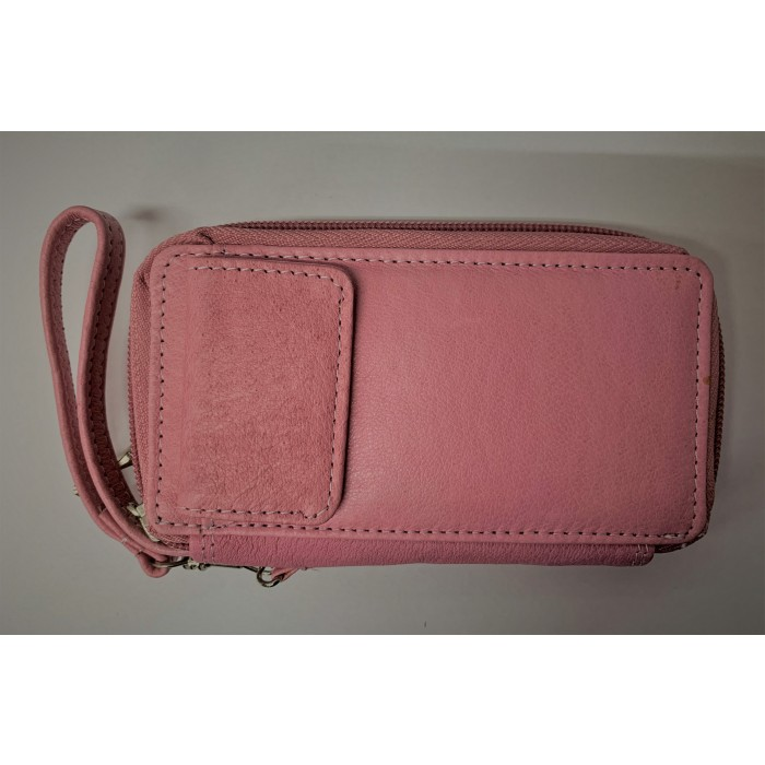 50767 Pink Zip Purse with Poppered Front Pocket