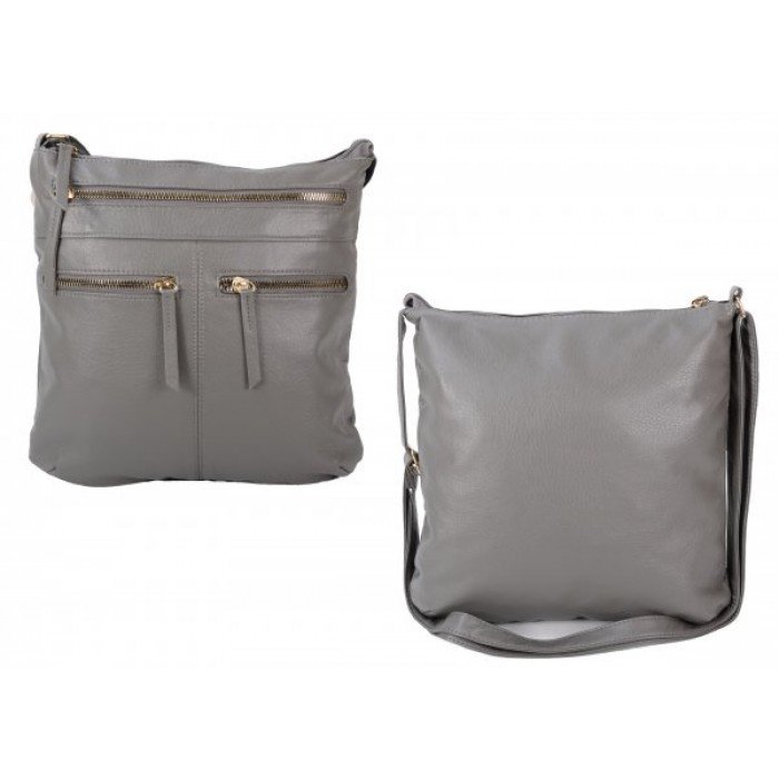 JBFB292 GREY PU CROSSBAG W/4 ZIPS