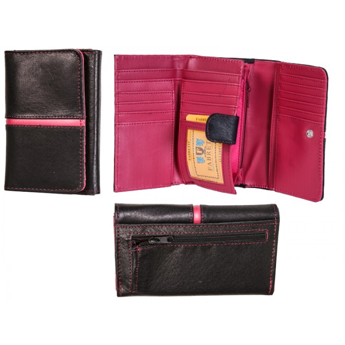 51040 BLACK/PINK LEATHER FABRETTI PURSE