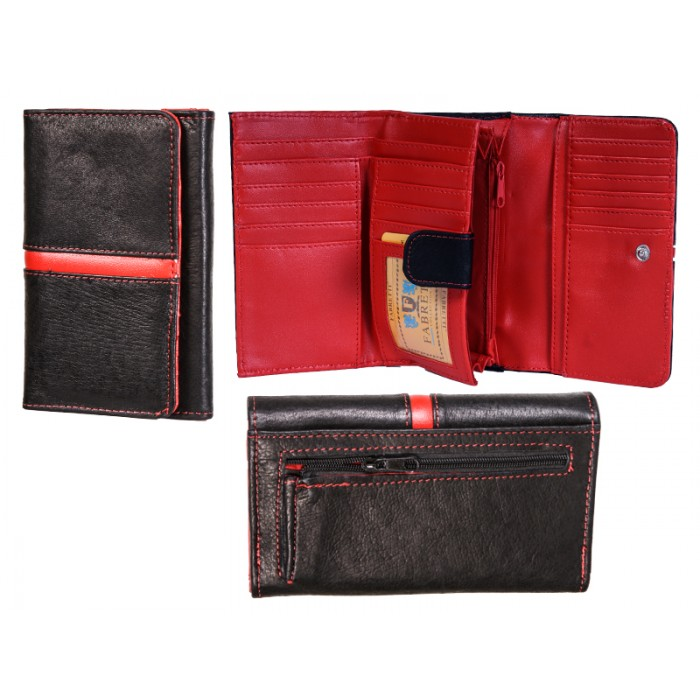 51040 BLACK/RED LEATHER FABRETTI PURSE