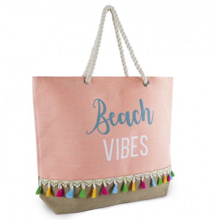BB1010 CANVAS BAG WITH HELLO SUMMER PINK