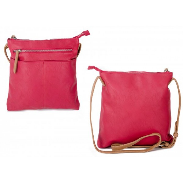 JBFB276 RED PU CROSSBAG W/ 2 ZIPS & FRONT POCKETS