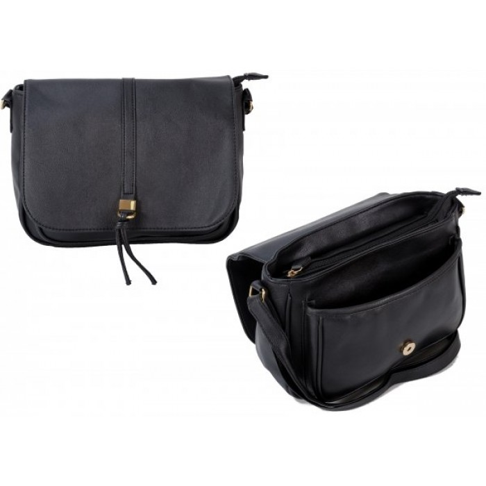 JBFB305 BLACK PU CROSSBAG W/ FLAP