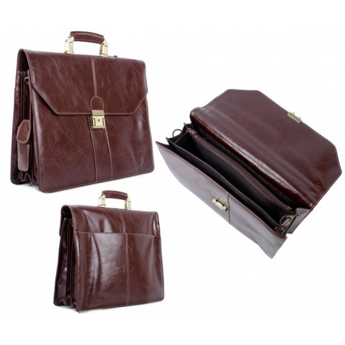 D0507 BROWN PU BRIEFCASE W/LOCK