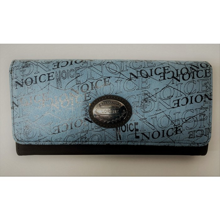 6214 BLUE LORENZ FLAP OVER PURSE WITH WRITING