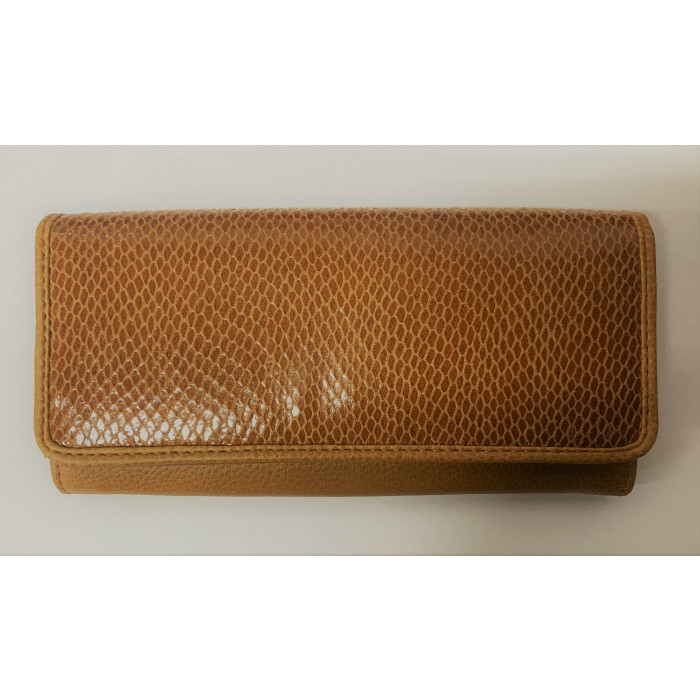 6215 TAN LIZARD LORENZ FLAP OVER PURSE