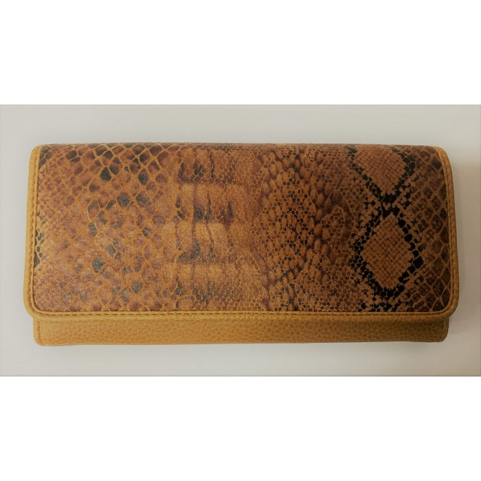 6215 TAN SNAKE LORENZ FLAP OVER PURSE