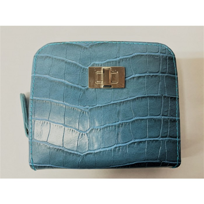6217 BLUE CROC MEDIUM MIDDLE ZIP ROUND PURSE