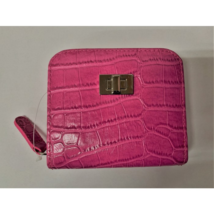 6217 PINK CROC MEDIUM MIDDLE ZIP ROUND PURSE